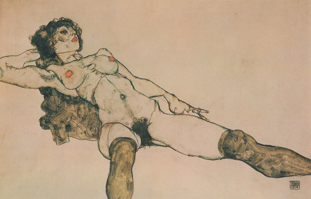 Reclining Female Nude with Legs Spread Apart, 1914