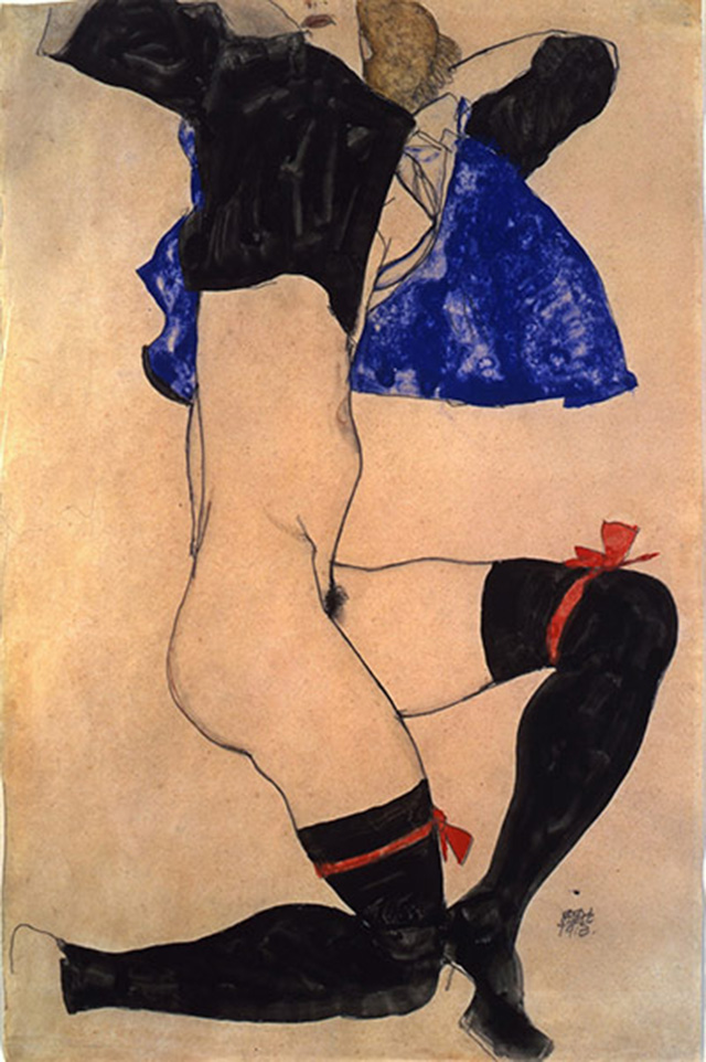 Semi Nude in Black Stockings and Blue Jacket, 1913, gouache and pencil on paper